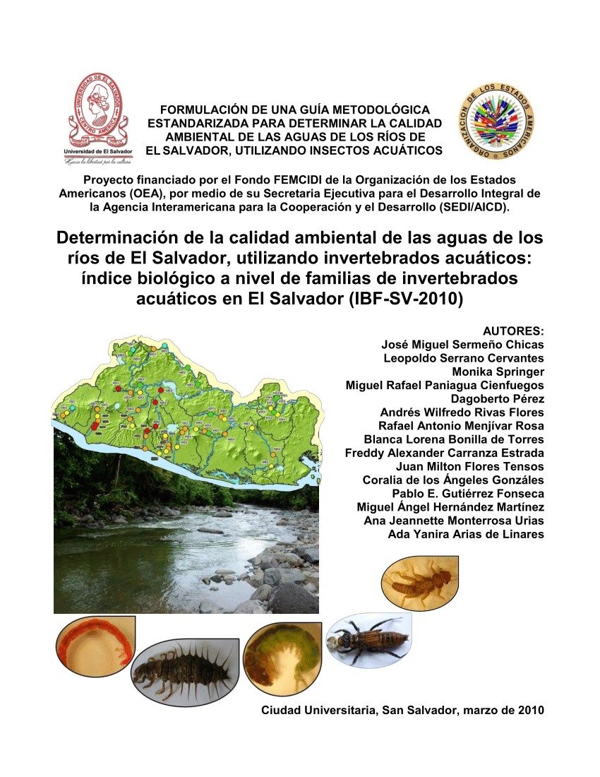 pdf determinacia n de la calidad ambiental de las aguas de los ra os de el salvador utilizando invertebrados acuaticos a ndice biola gico a nivel de