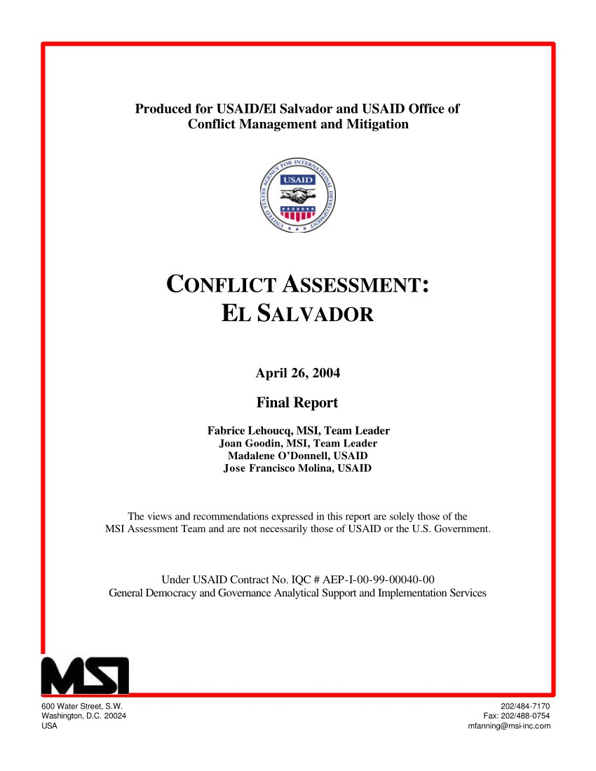 pdf produced for usaid el salvador and usaid office of conflict management and mitigation conflict assessment el salvador