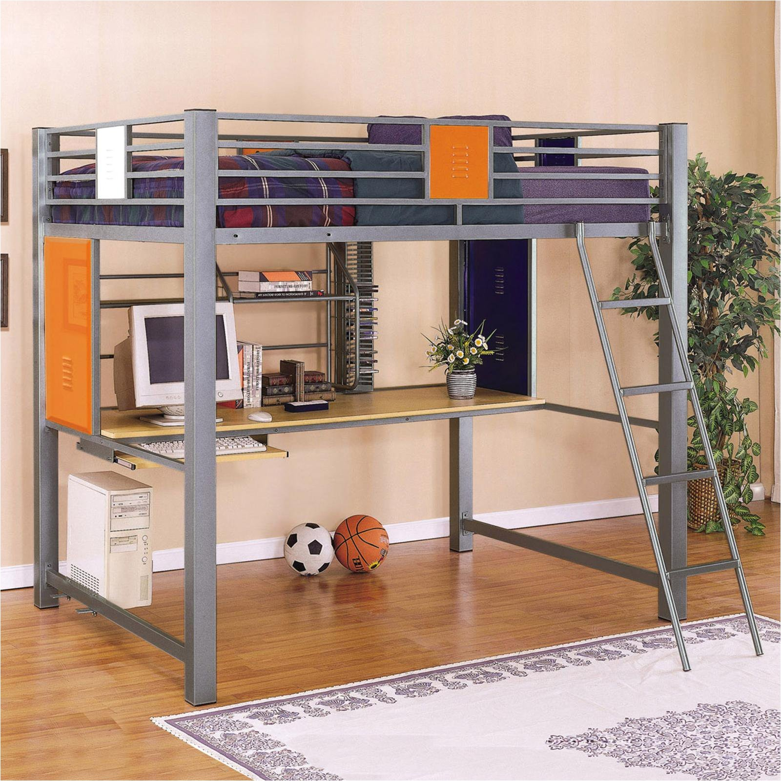gray metal full size loft bed with computer desk and ladder for teen boys
