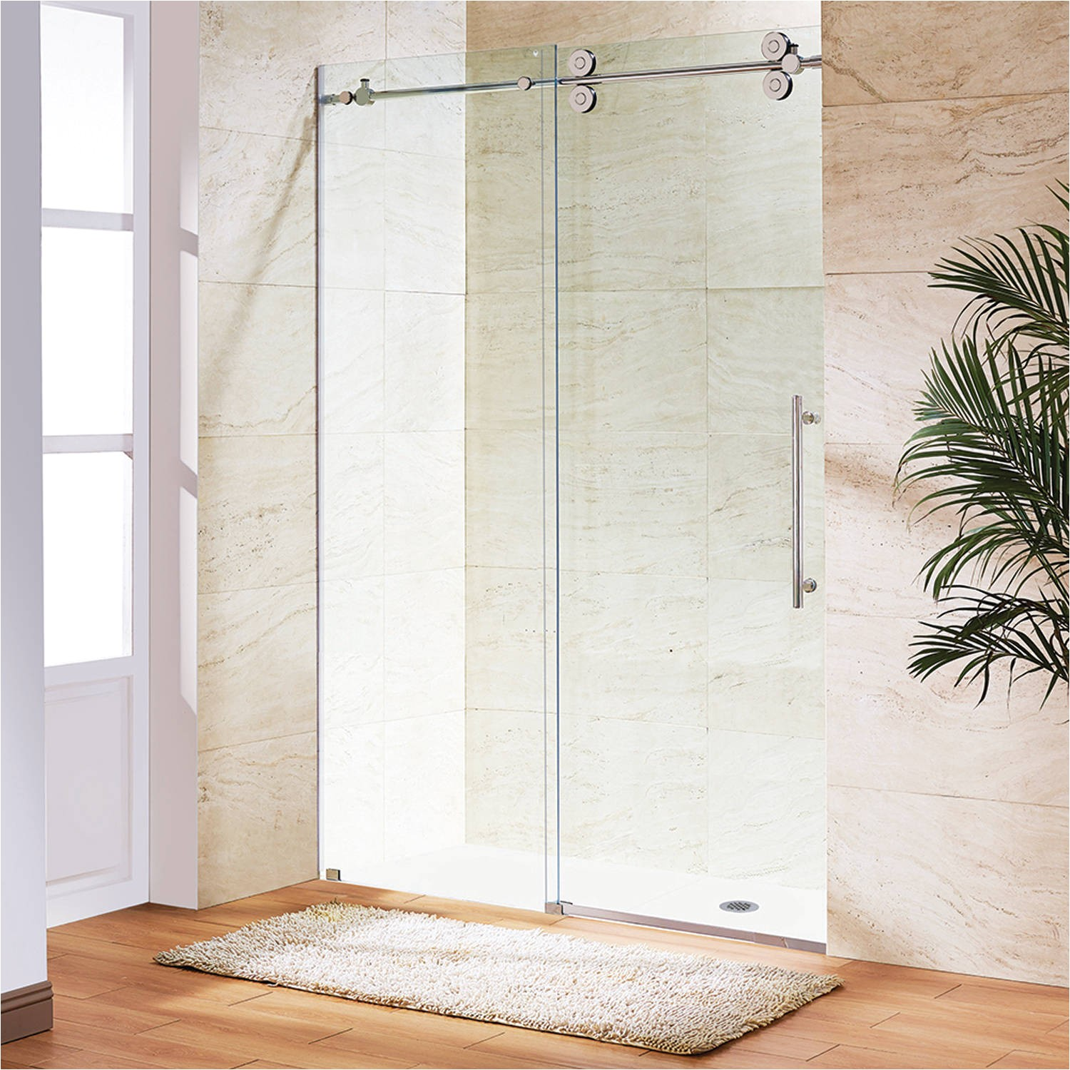 vigo elan 56 frameless shower door 3 8 clear glass chrome hardware walmart com