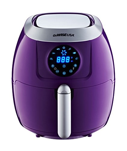 gowise usa electric air fryer w touch screen technology button guard detachable basket 5 8qt plum