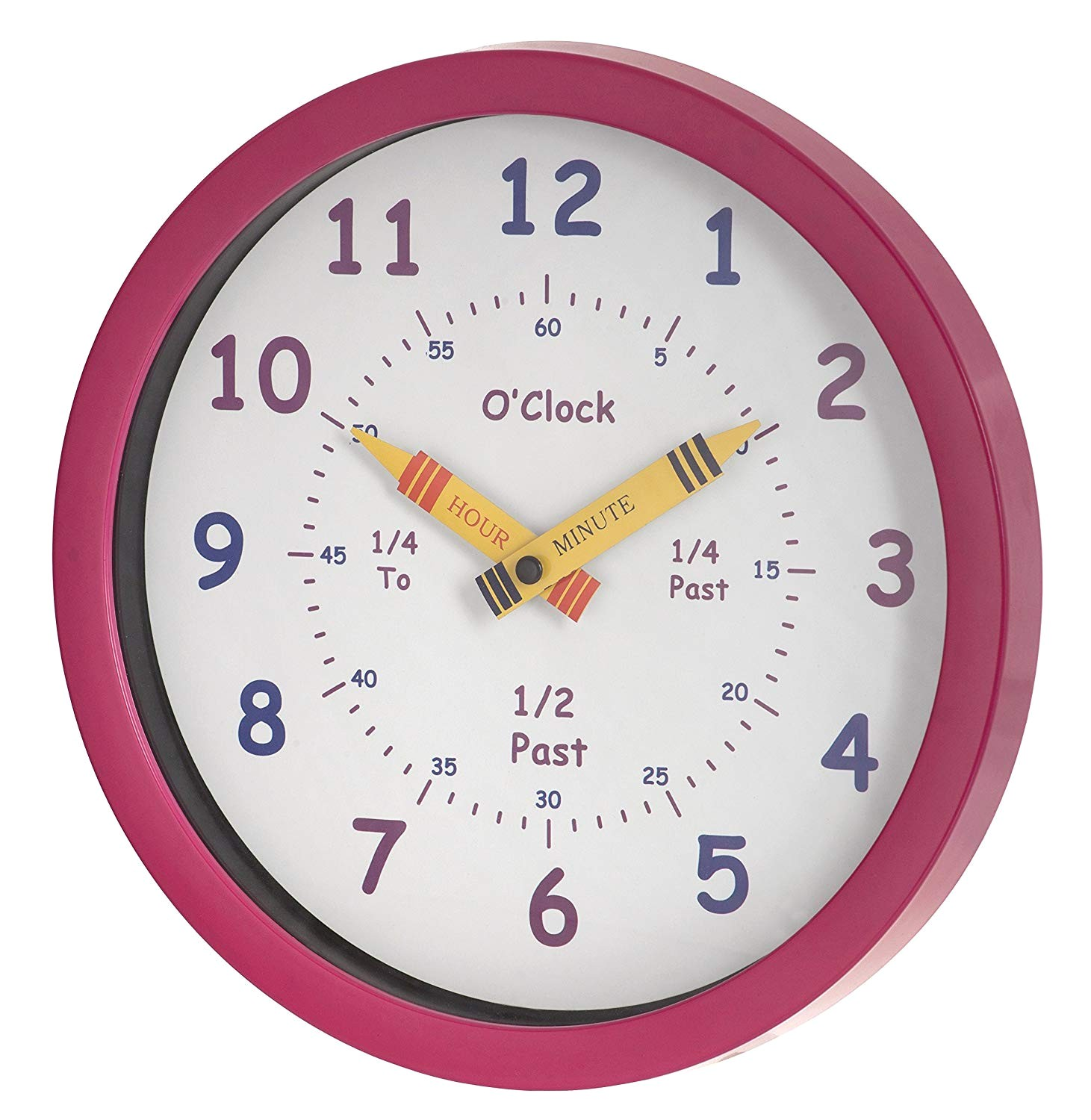 amazon com unity henley children s learn the time wall clock 10 inch pink home kitchen