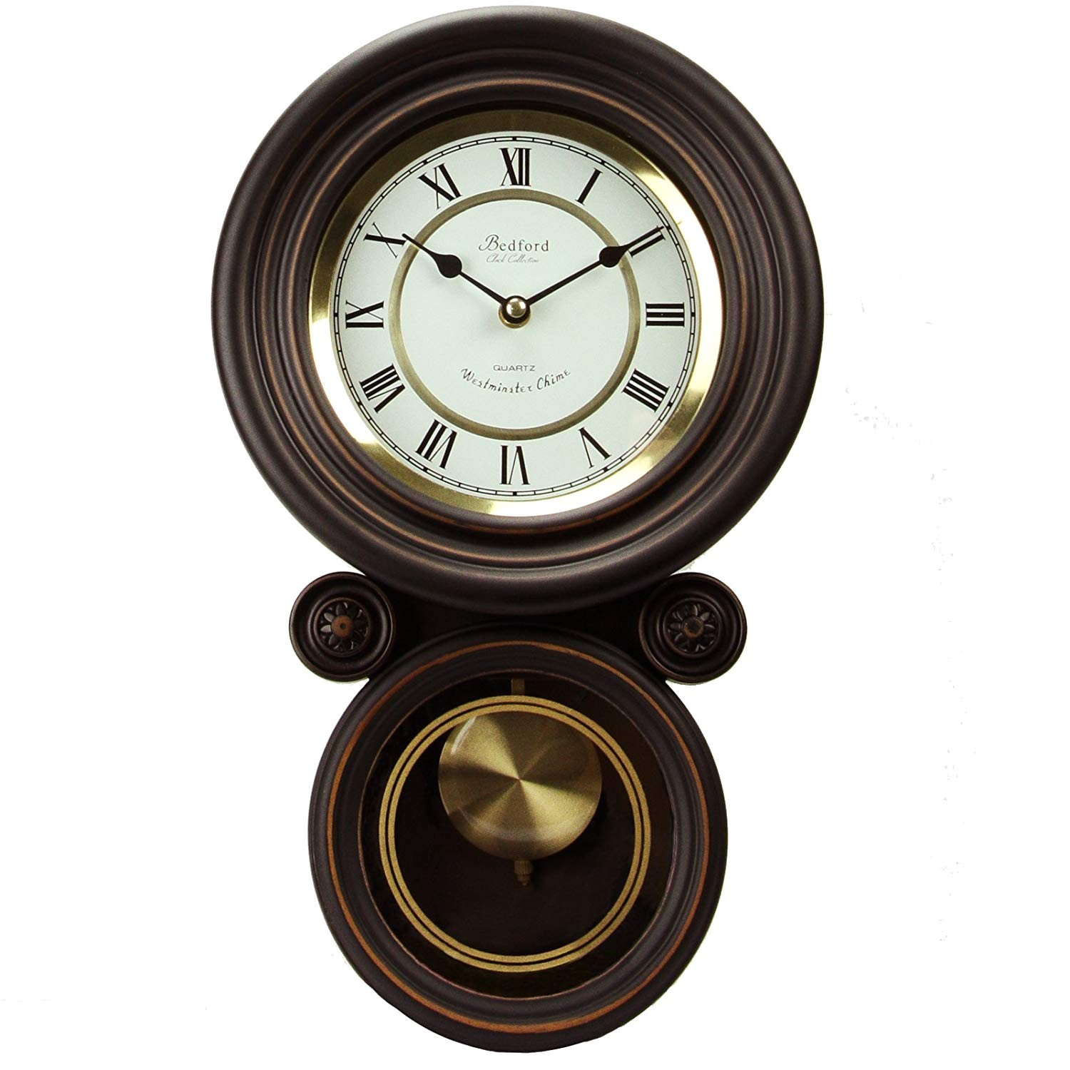 amazon com bedford clock collection contemporary round wall clock with pendulum home kitchen