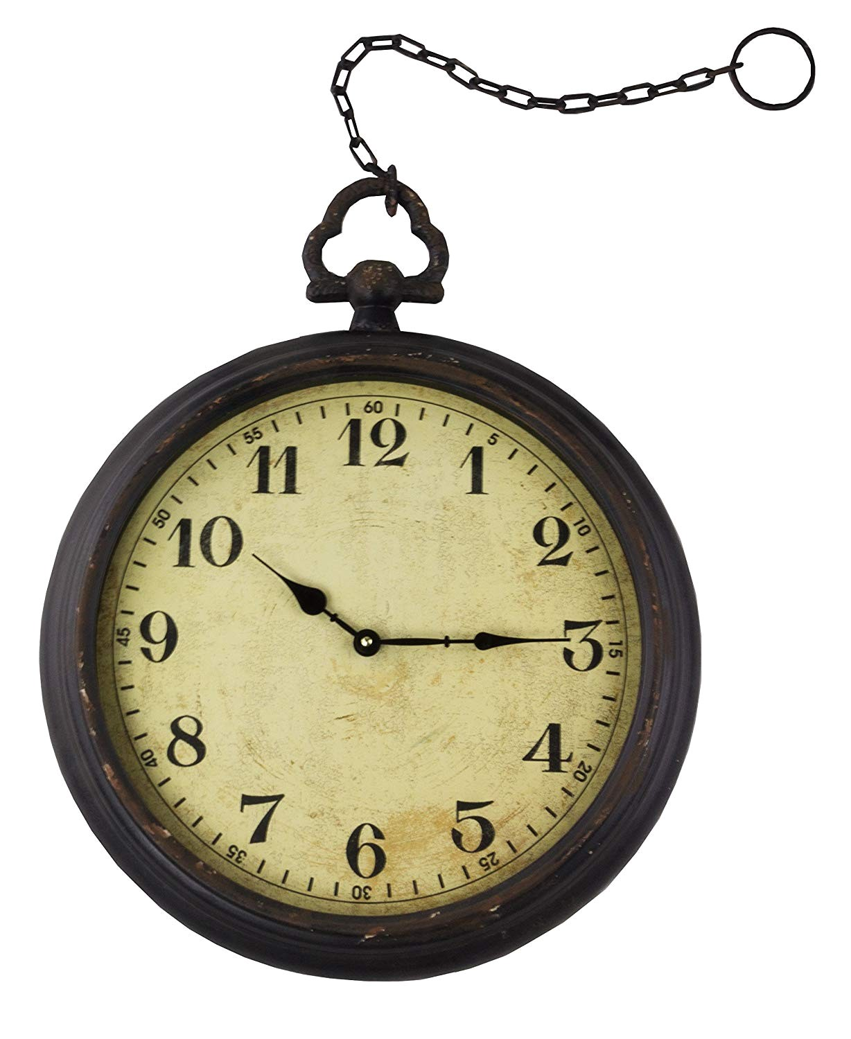 amazon com vintage pocket watch inspired wall clock with chain round 17 home kitchen