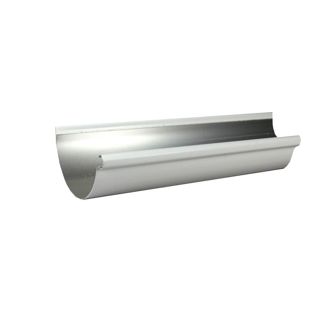 half round low gloss white aluminum gutter