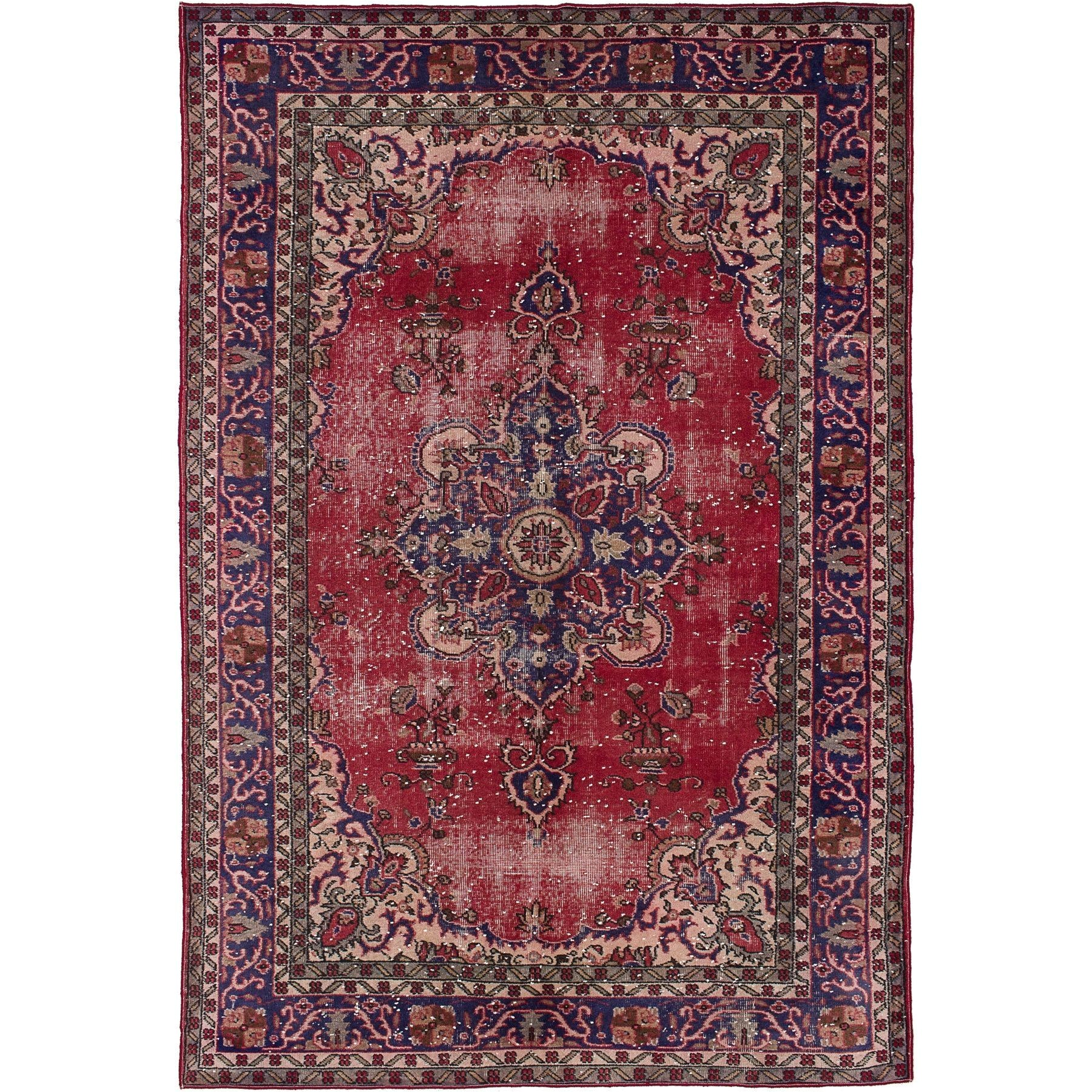 ecarpetgallery hand knotted melis vintage red wool rug 6 3 x 9 5 red rug 6 x 9 size 6 x 9 cotton oriental