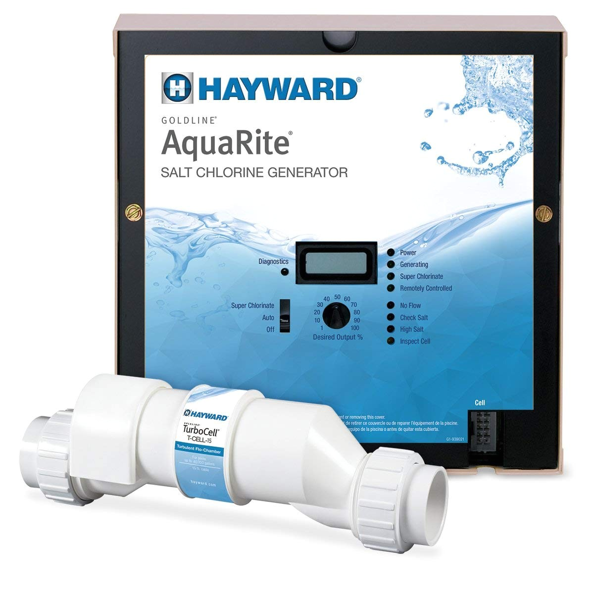 amazon com hayward goldline aqr15 aquarite electronic salt chlorination system for in ground pools 40 000 gallon cell swimming pool chlorine garden