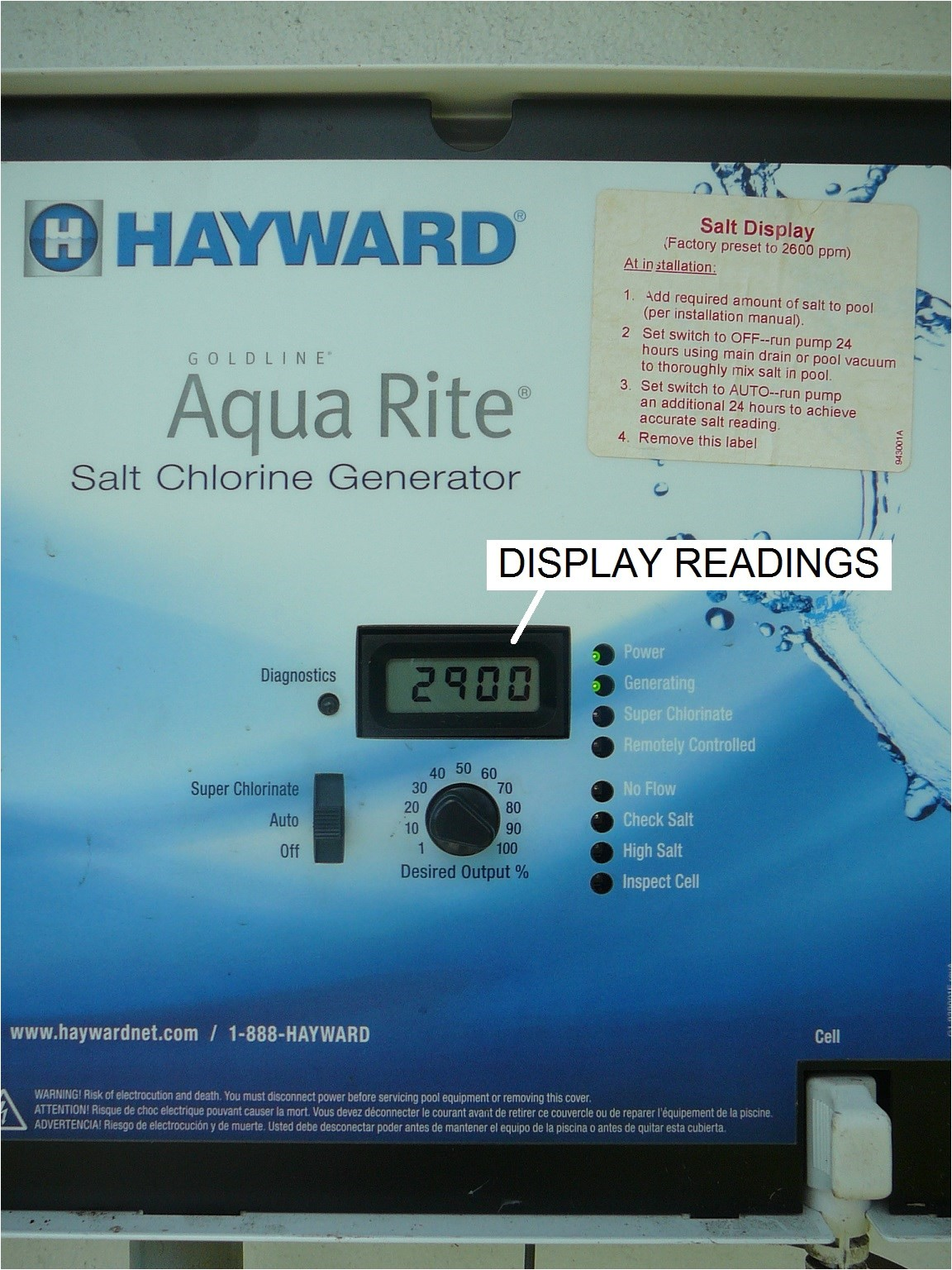 this guide describes the display readings on a hayward aqua rite salt chlorine generator scg and links you to a series of guides that tell you have to
