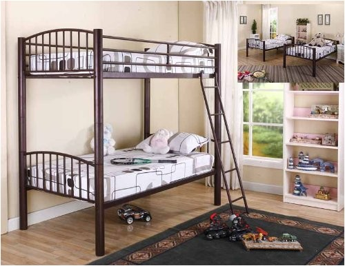 kings brand bronze metal heavy duty twin twin size convertible bunk bed