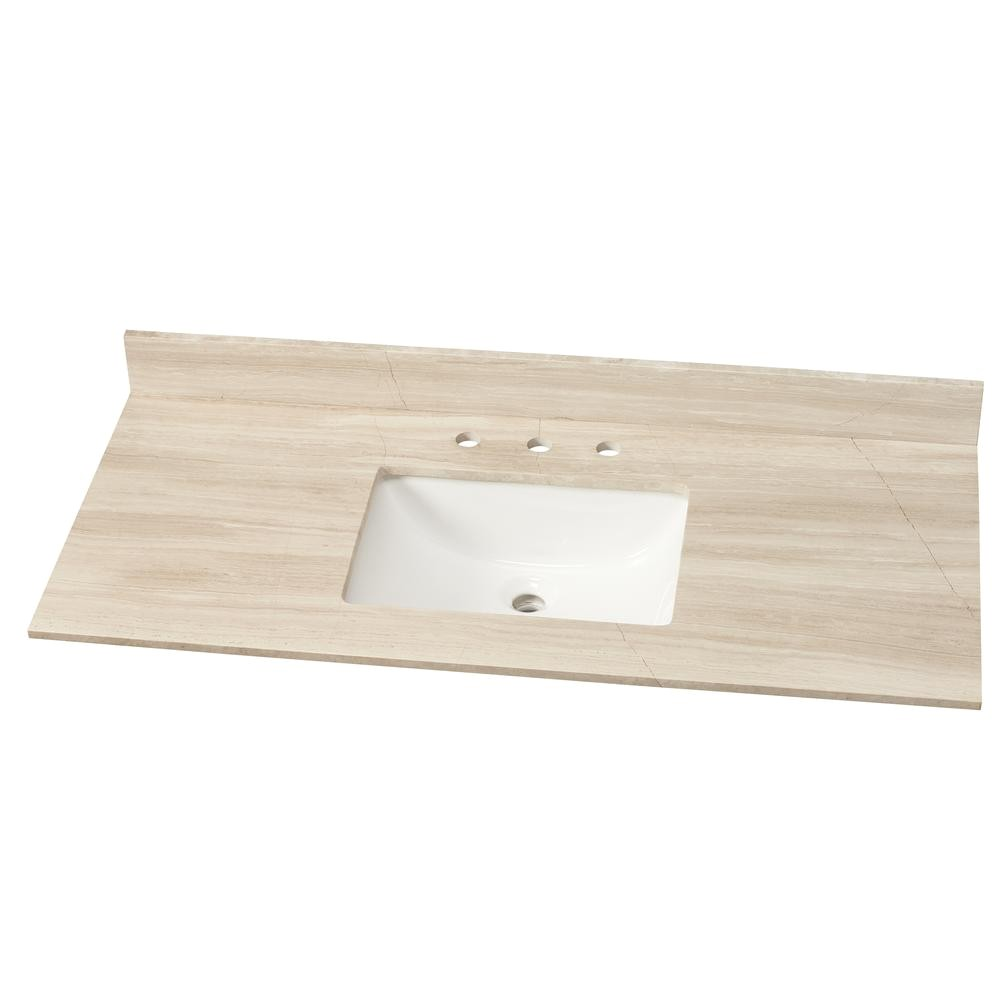 w marble single vanity top in white oak with