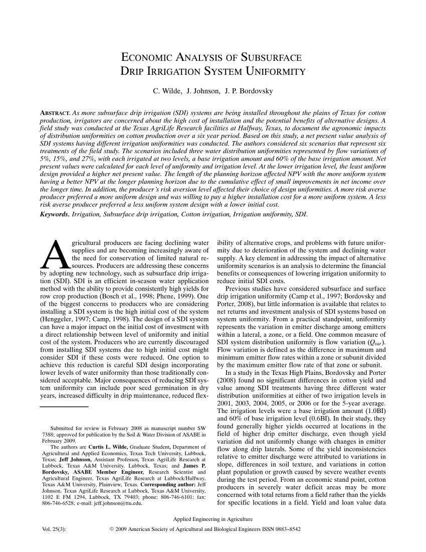 pdf economic analysis of subsurface drip irrigation system uniformity