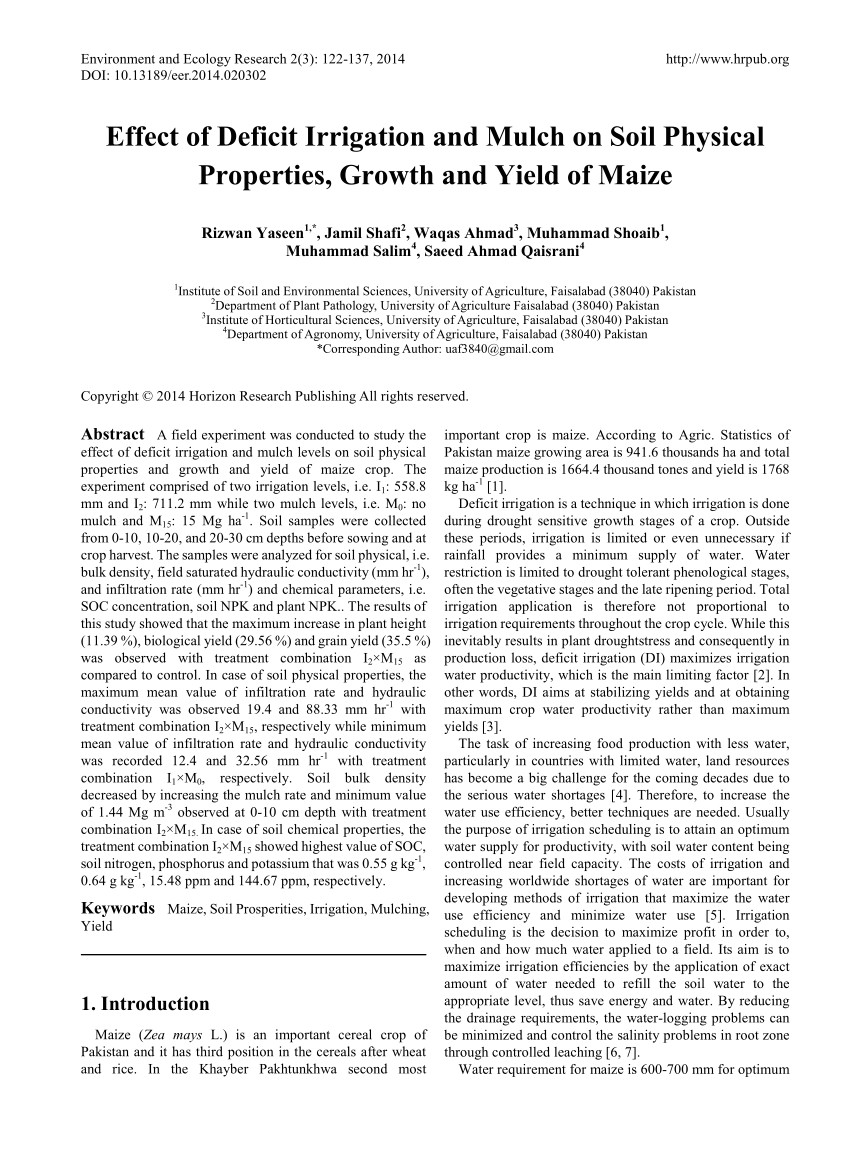 pdf effect of deficit irrigation and mulch on soil physical properties growth and yield of maize