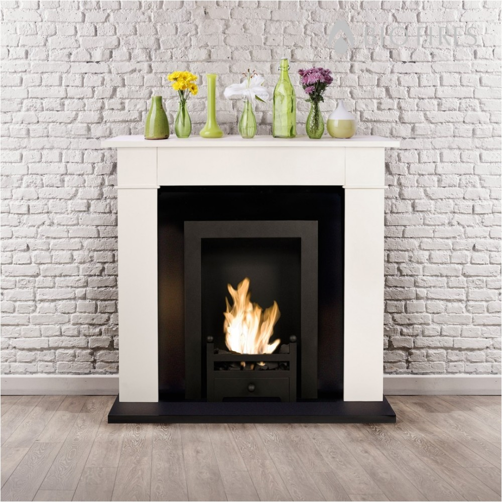 74 ivory fireplace suite with non electric bio ethanol insert