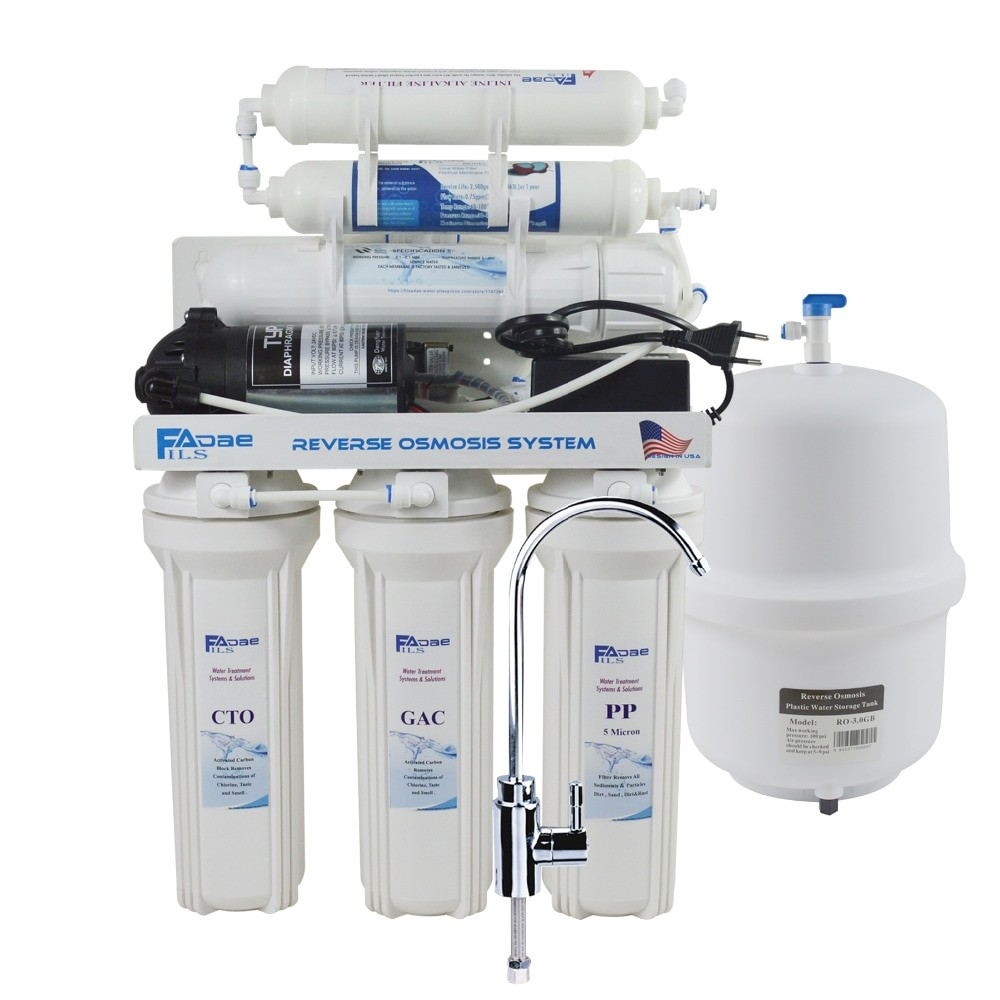6 stage under sink reverse osmosis drinking water filtration system with alkaline remineralization filter power 100 240v 75gpd