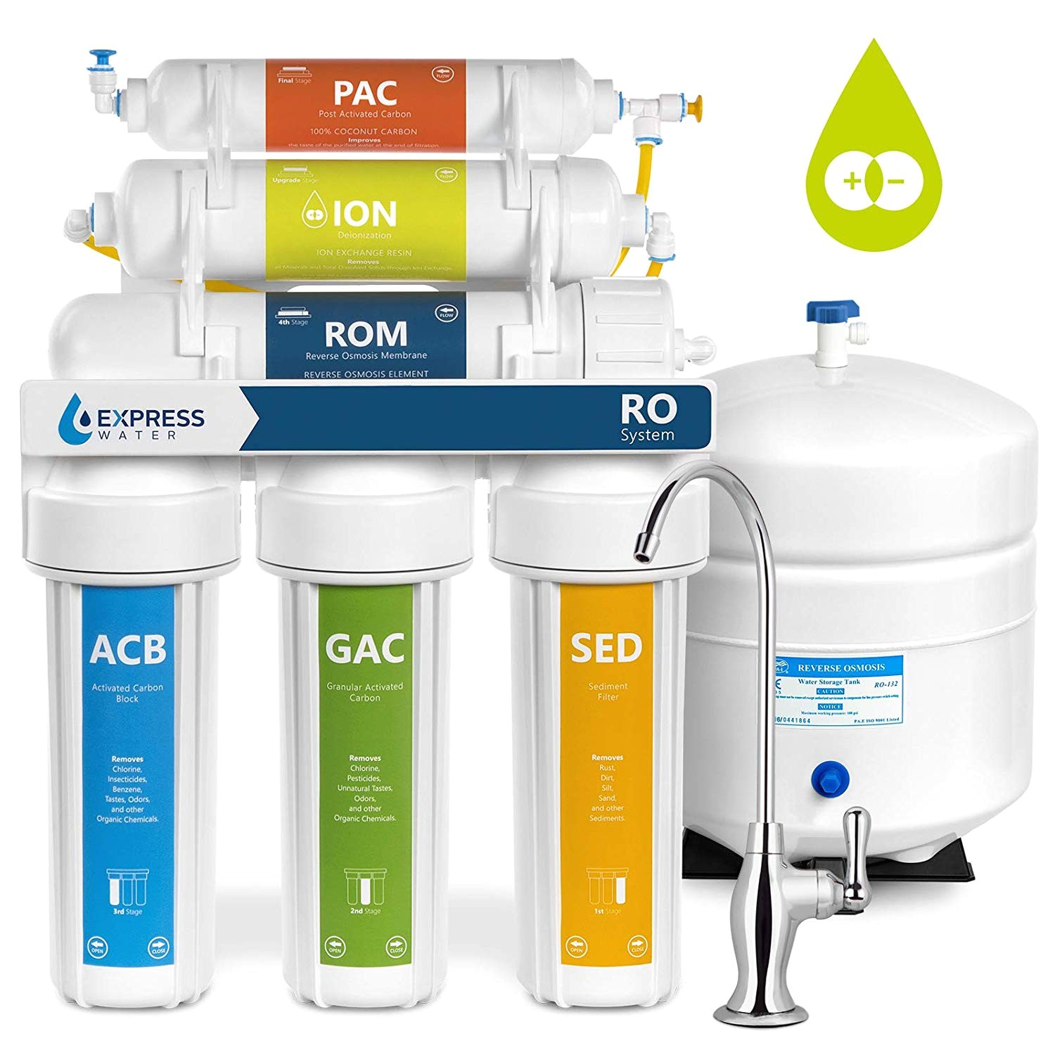 express water deionization reverse osmosis water filtration system 6 stage ro di water filter with faucet and tank distilled pure under sink home