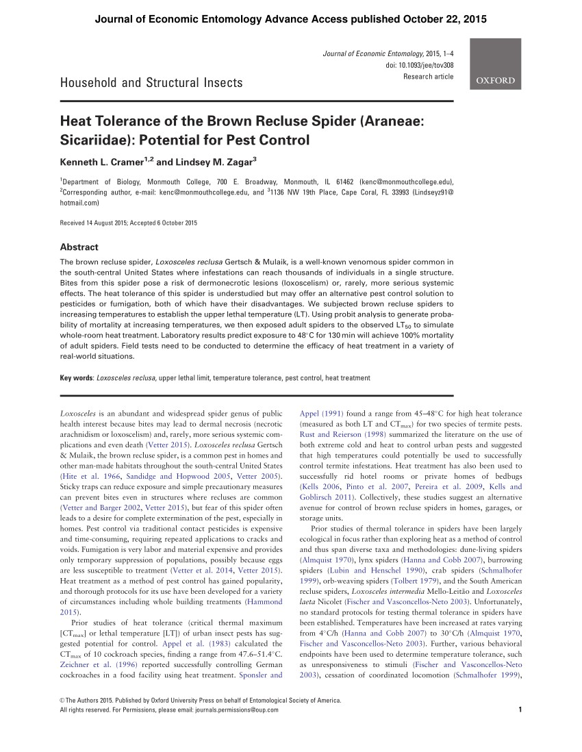 pdf heat tolerance of the brown recluse spider araneae sicariidae potential for pest control