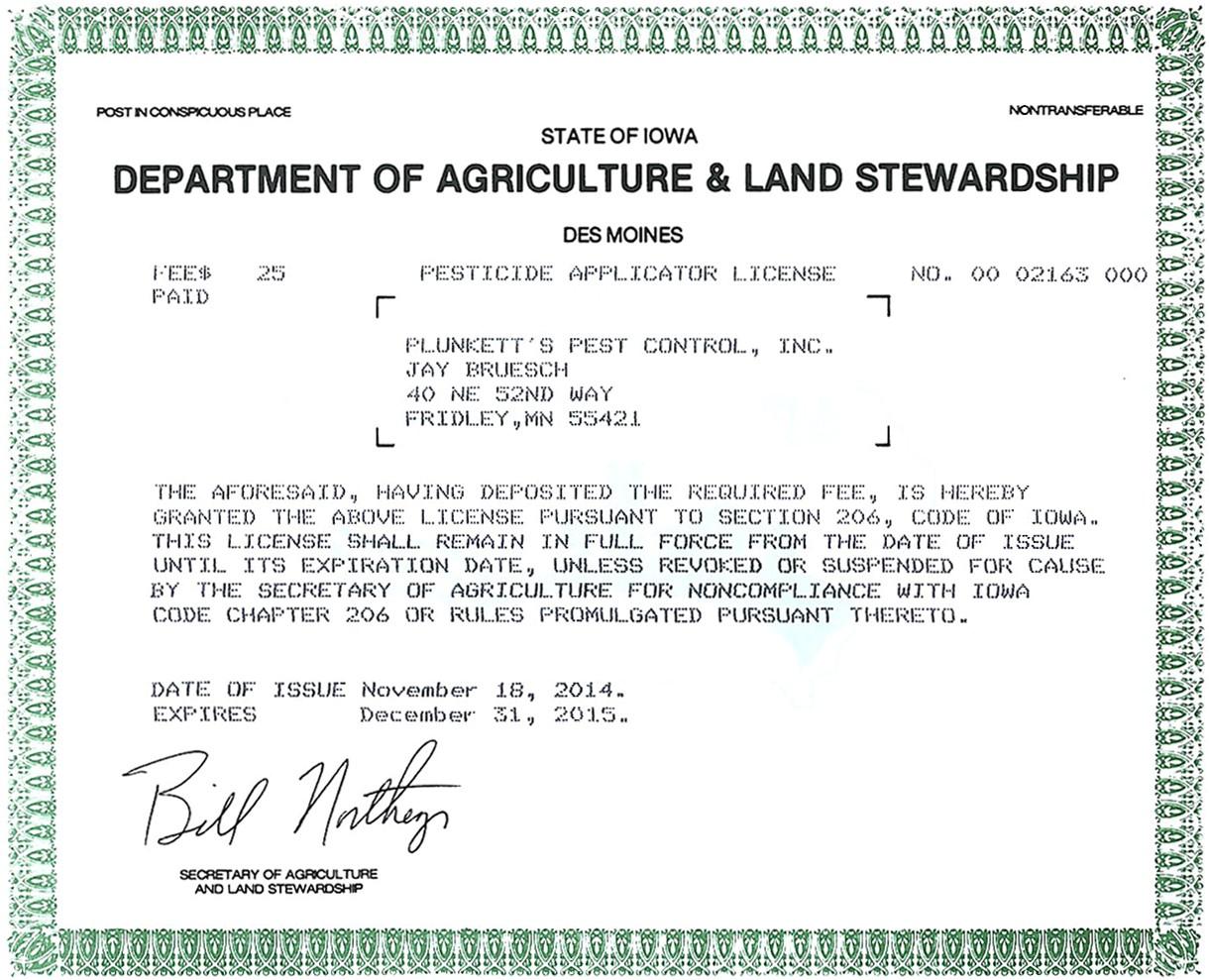 iowa pest control license pictures