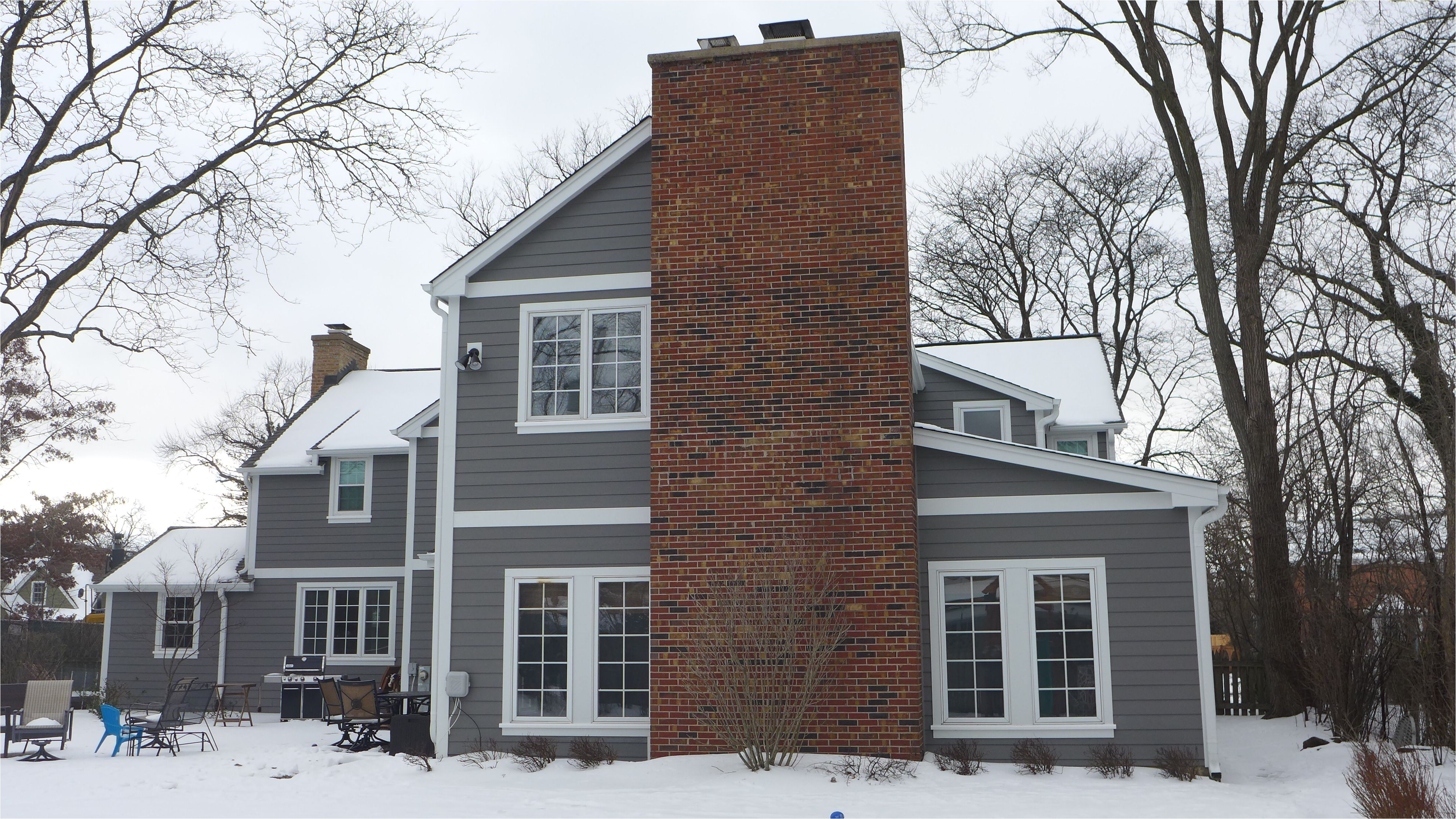 james hardie siding in aged pewter with arctic white trim certainteed roofing in driftwood homeremodel exteriors