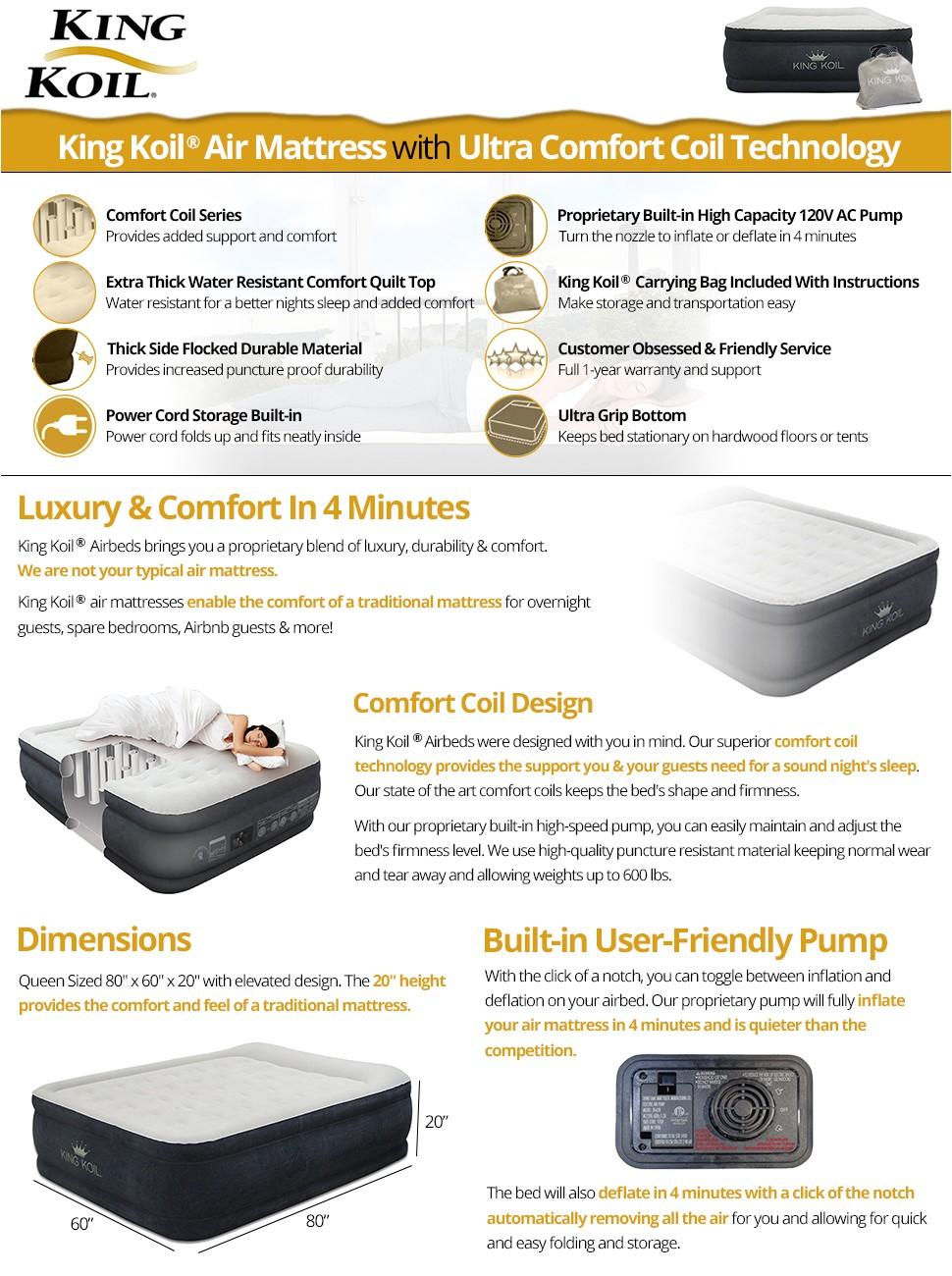 King Koil Air Mattress Reviews Amazon Com King Koil Queen Size Luxury Raised Air