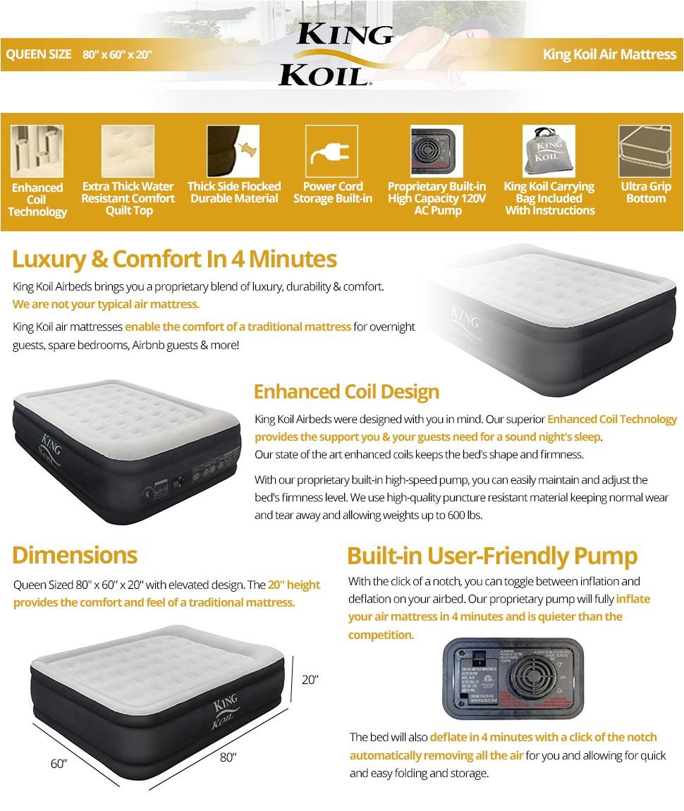King Koil Queen Size Luxury Raised Air Mattress Amazon Com King Koil