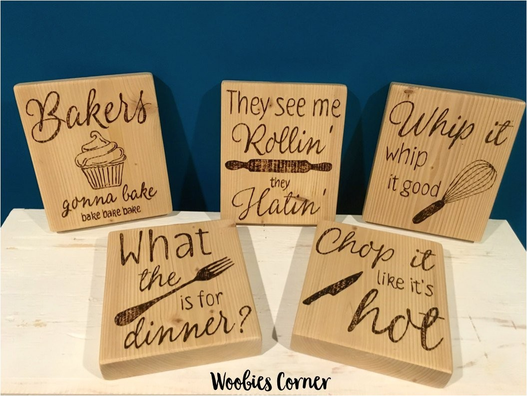 Kitchen Wood Sign Sayings Set Of Five Kitchen Quotes Funny Kitchen Signs Wood Kitchen