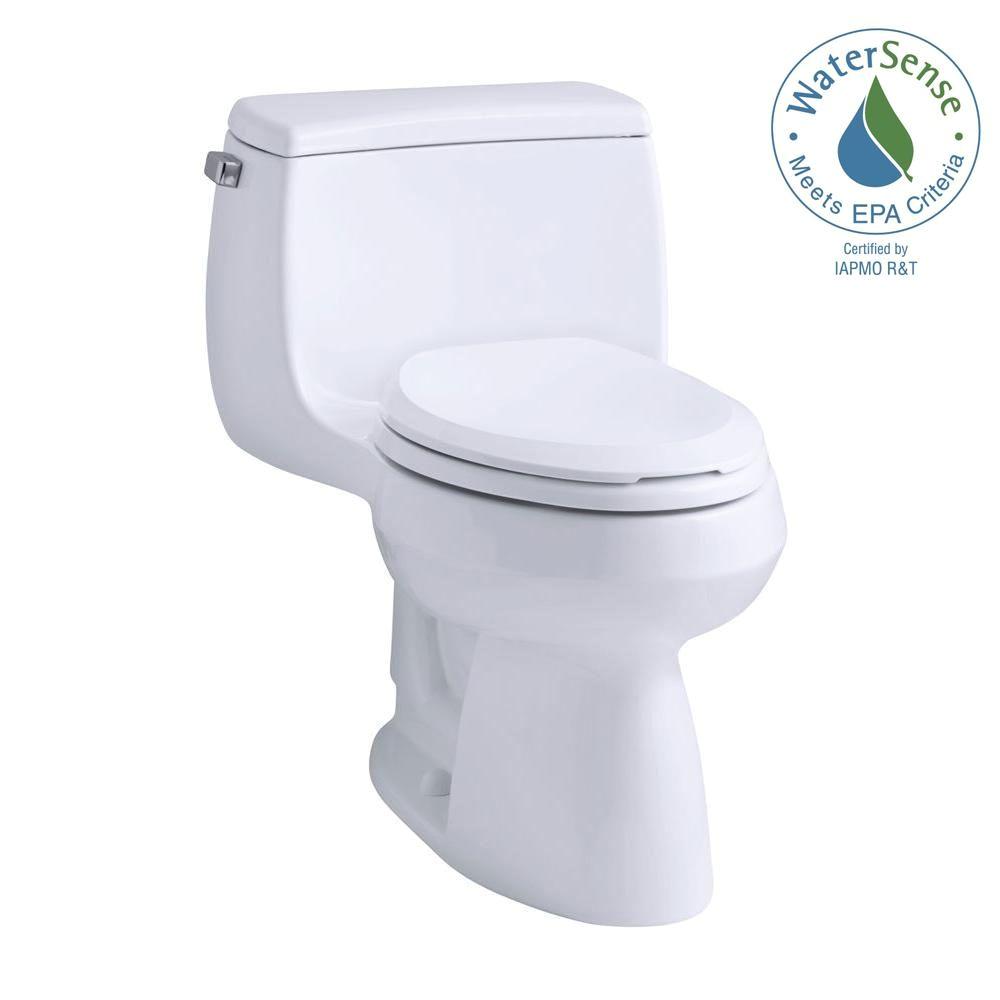 kohler gabrielle comfort height 1 piece 1 28 gpf single flush compact elongated toilet with aquapiston