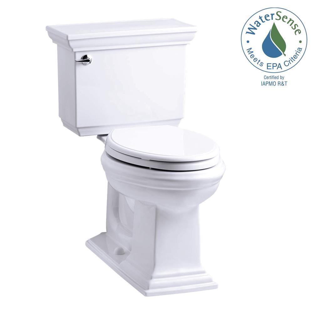 kohler memoirs stately 2 piece 1 28 gpf single flush elongated toilet with aquapiston flush technology