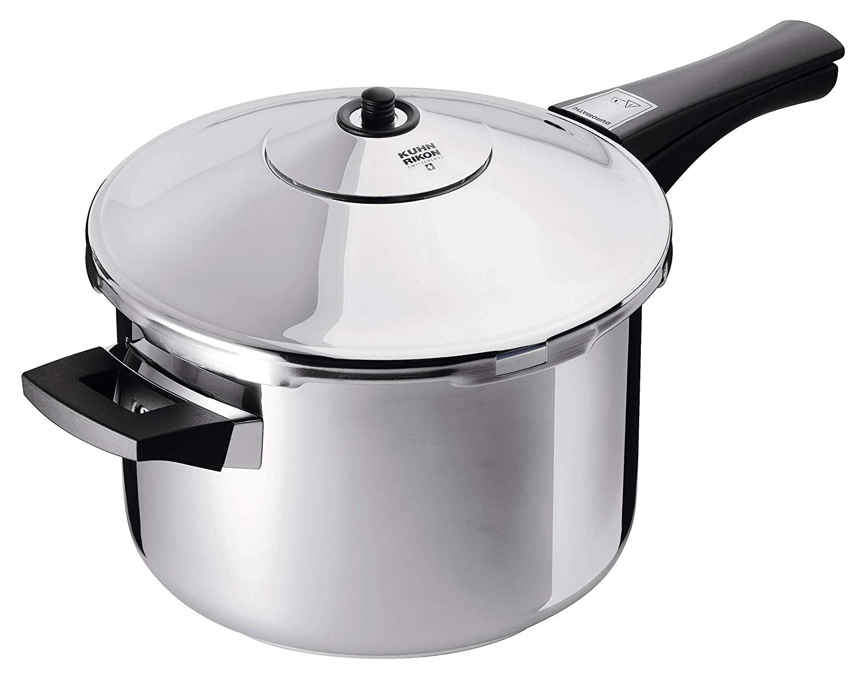 amazon com kuhn rikon duromatic stainless steel saucepan pressure cooker 5 3 qt kitchen dining