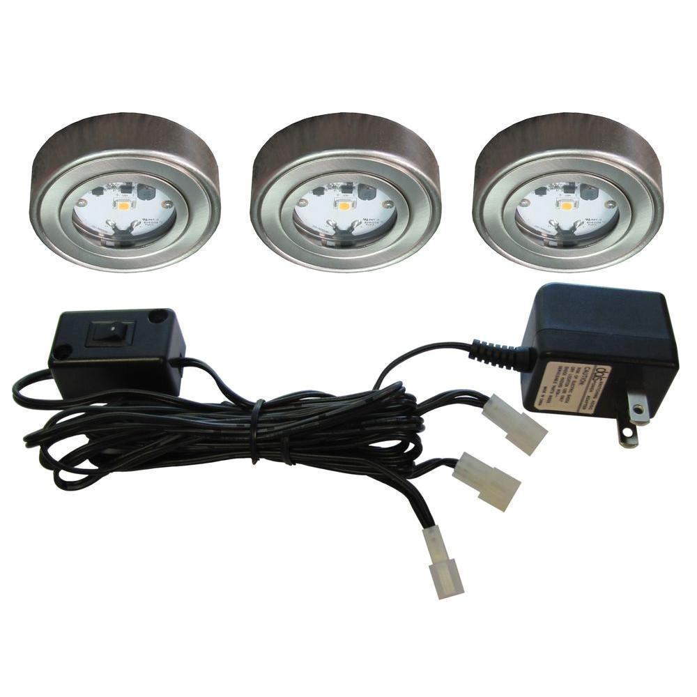 Led Puck Lights at Home Depot Enviro Satin Nickel Metal Led Puck Light 3 Pack I