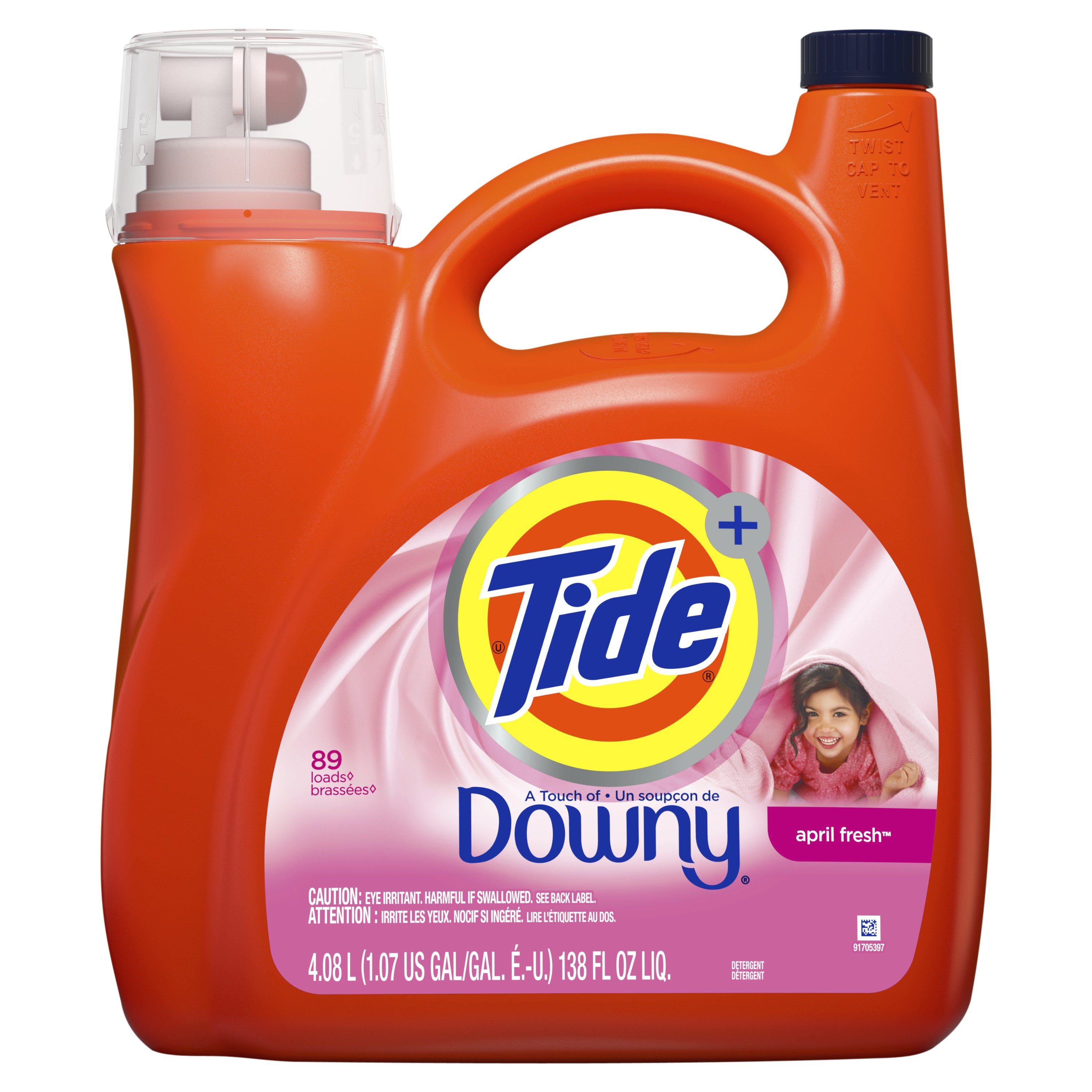 tide liquid laundry detergent with a touch of downy april fresh 89 loads 138 fl oz walmart com