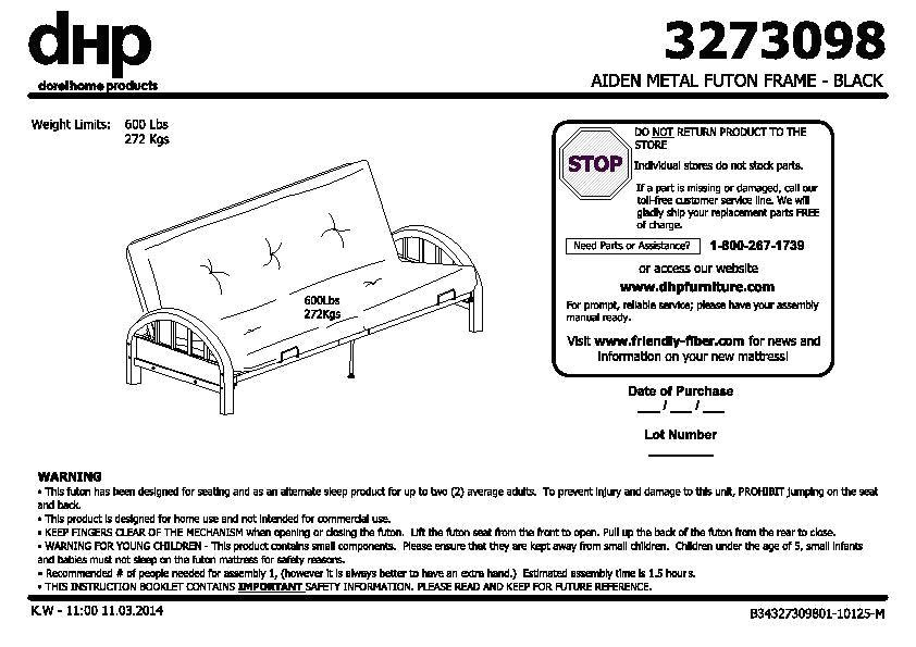 Mainstays Black Metal Arm Futon Embly Instructions