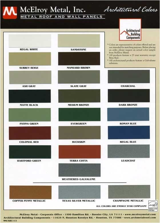 mcelroy metal color chart