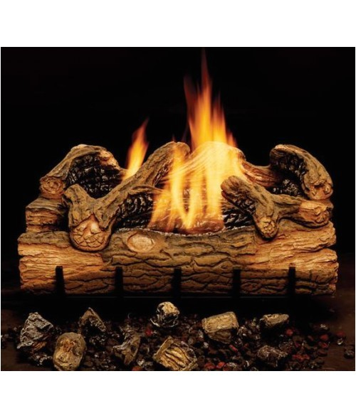 monessen charred hickory vent free gas log set with burner