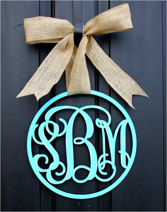 wooden monogram monogrammed wreath