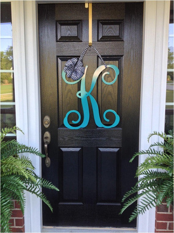 initial monogram front door wreath metal monogram letter 24 quot tall over 25 colors choices ribbon choices double door wreath
