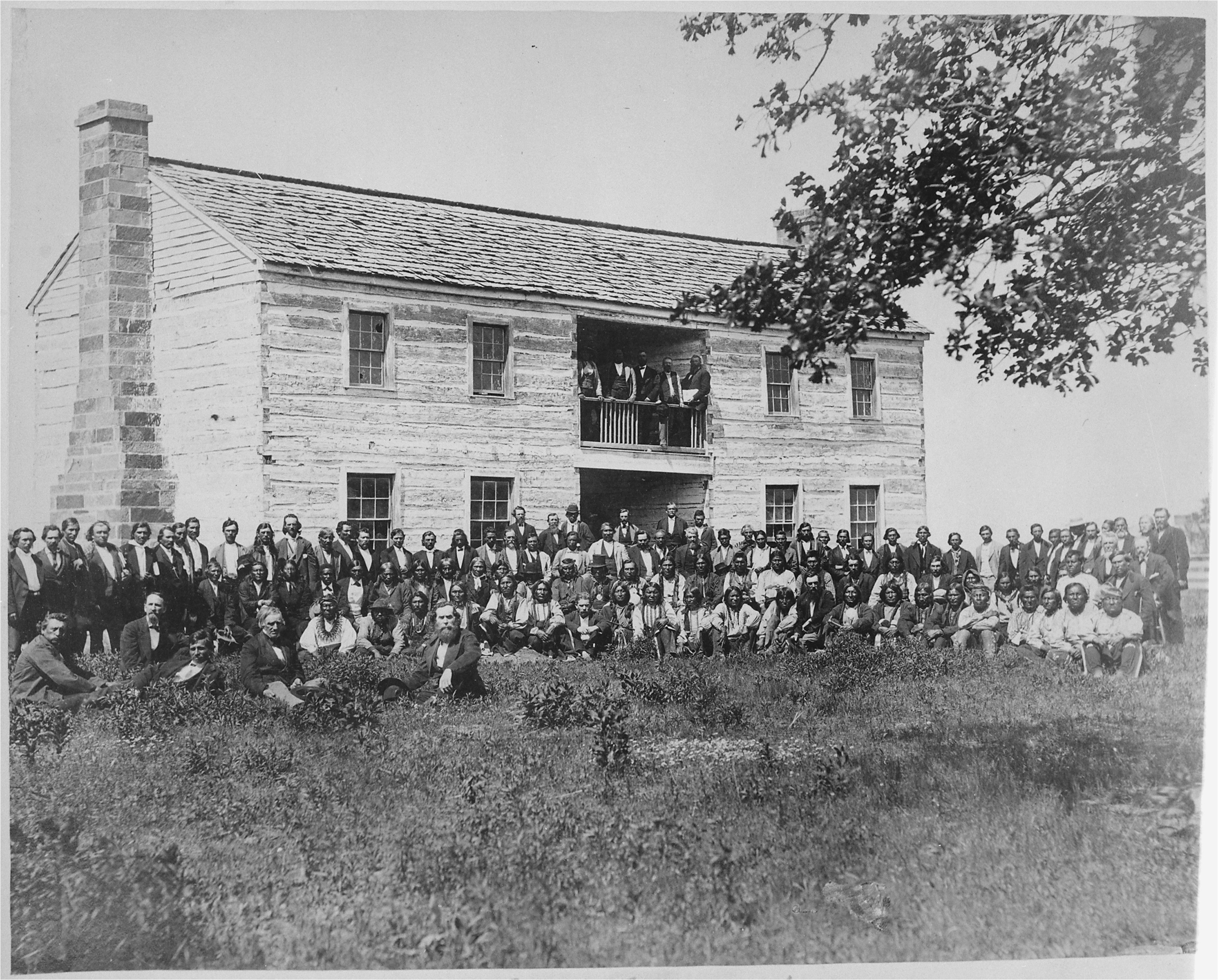 file delegates from 34 tribes in front of creek council house indian territory 1880 nara 519141 jpg