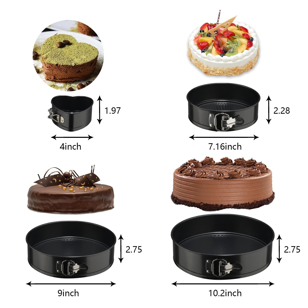amazon com springform cake pan set 3pcs round 7 9 10 and 1pcs heart shaped 4 premium leakproof nonstick steel cheesecake bakeware pan set kitchen