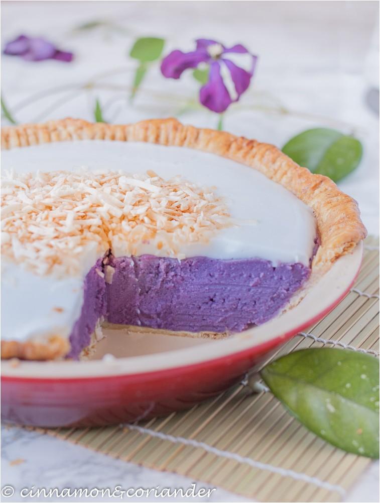 purple sweet potato pie haupia coconut topping