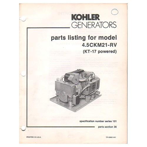 original 1981 kohler generator parts listing for