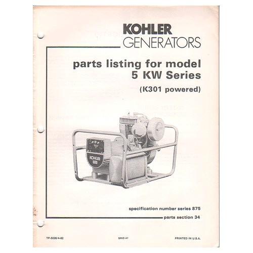original 1982 kohler generator parts listing for