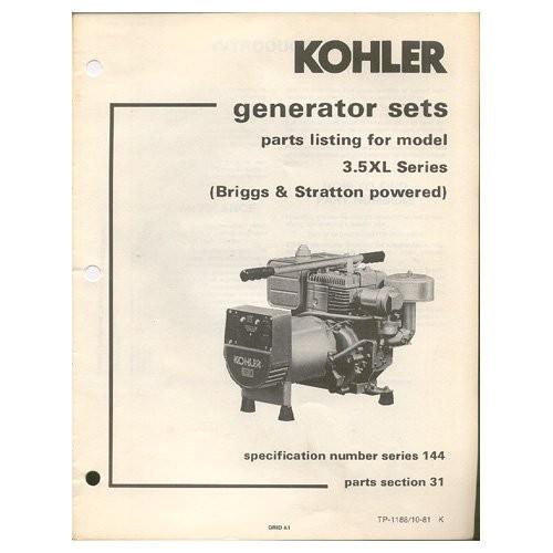 original 1982 kohler parts list model 35