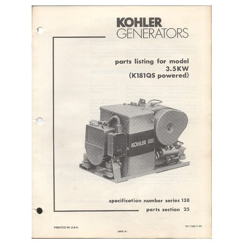 original 1983 kohler parts list for model 35