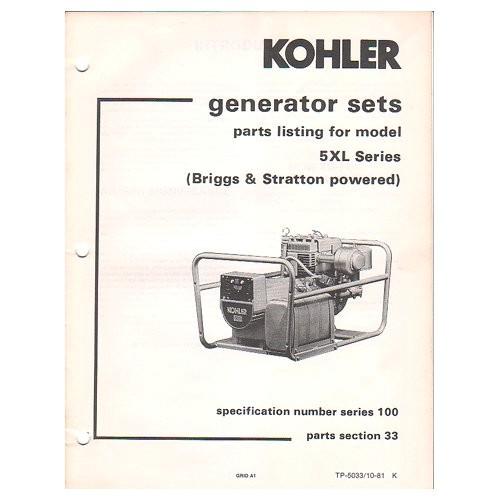 original 1981 kohler generator sets parts
