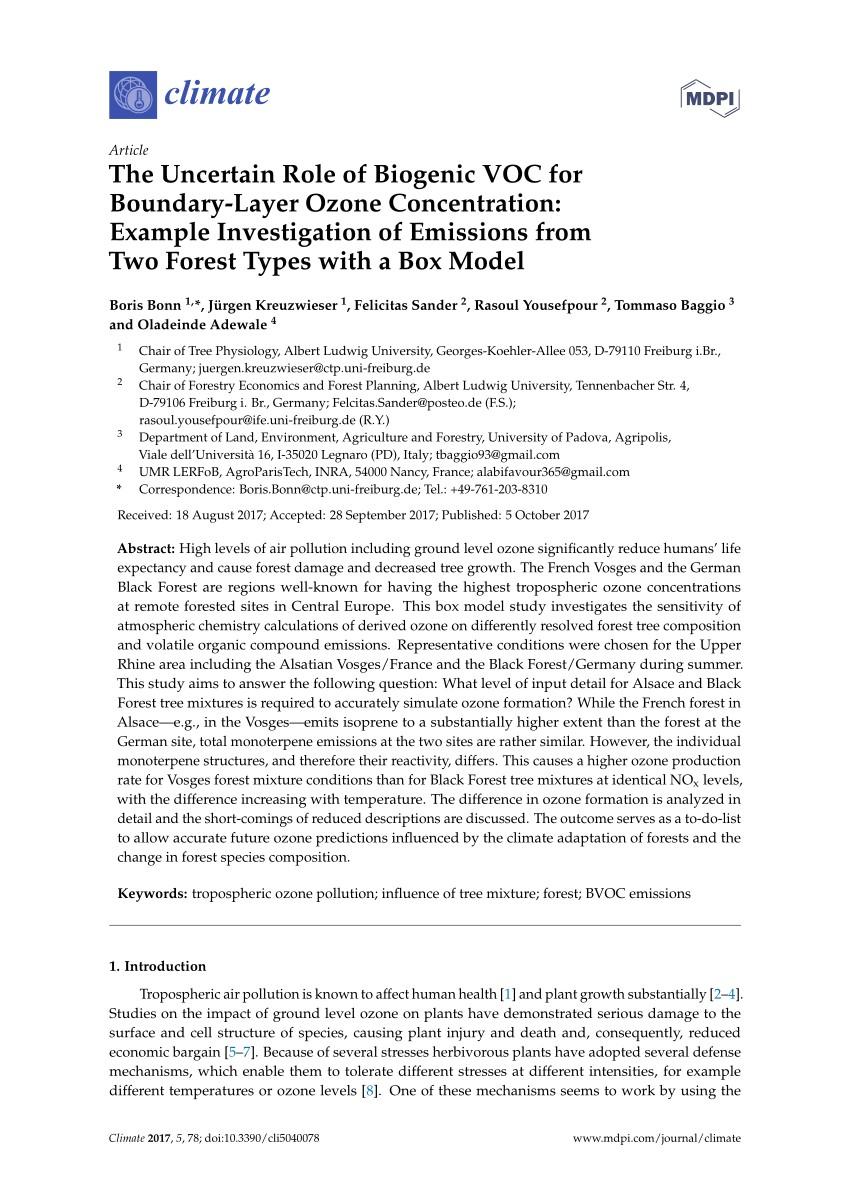 pdf impact of tropospheric ozone on terrestrial biodiversity a literature analysis to identify ozone sensitive taxa