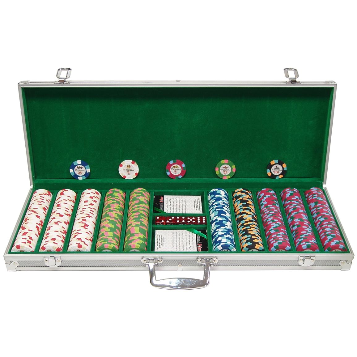 trademark games 500 pc paulson pharaoh club clay poker chip set with aluminum case a 1624811