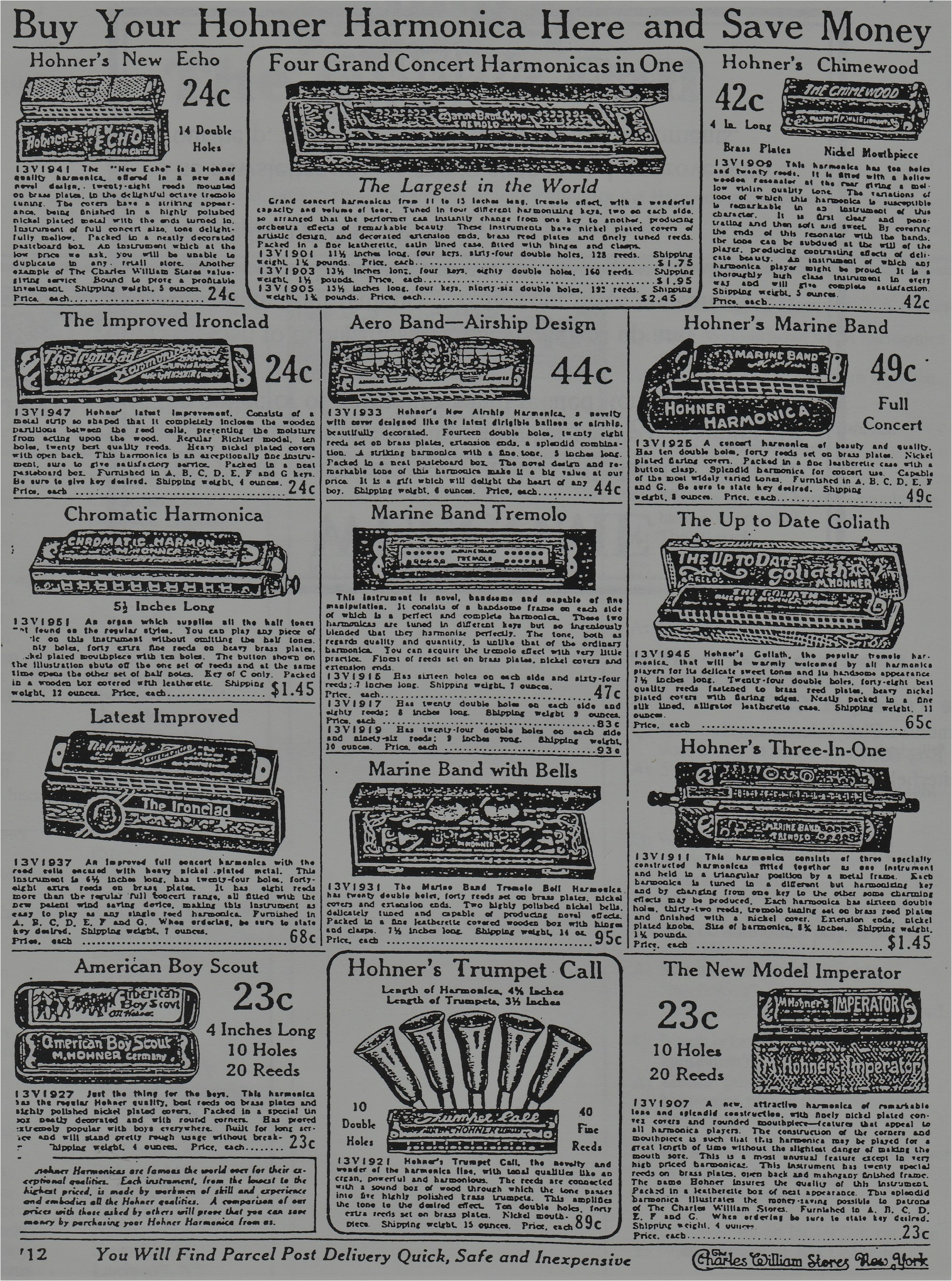 hohner promotes various display cases to its dealers ad 1 and still sells its american boy scout harmonica for 23 cents