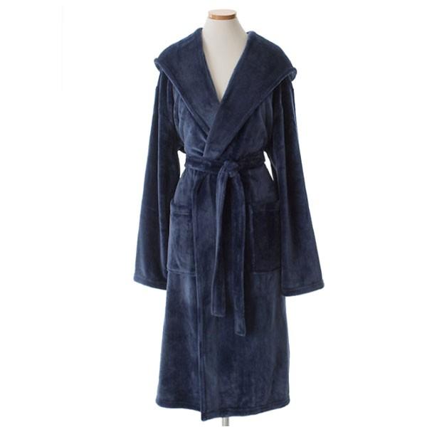 pine cone hill selke fleece indigo hooded robe p 17338