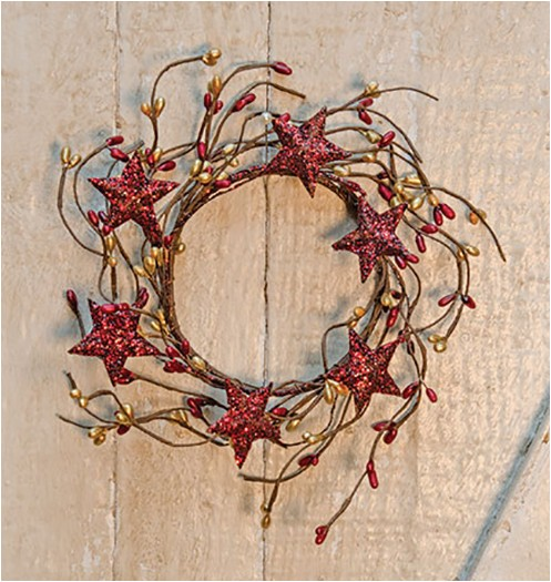 pip berry with stars red gold candle ring wreath