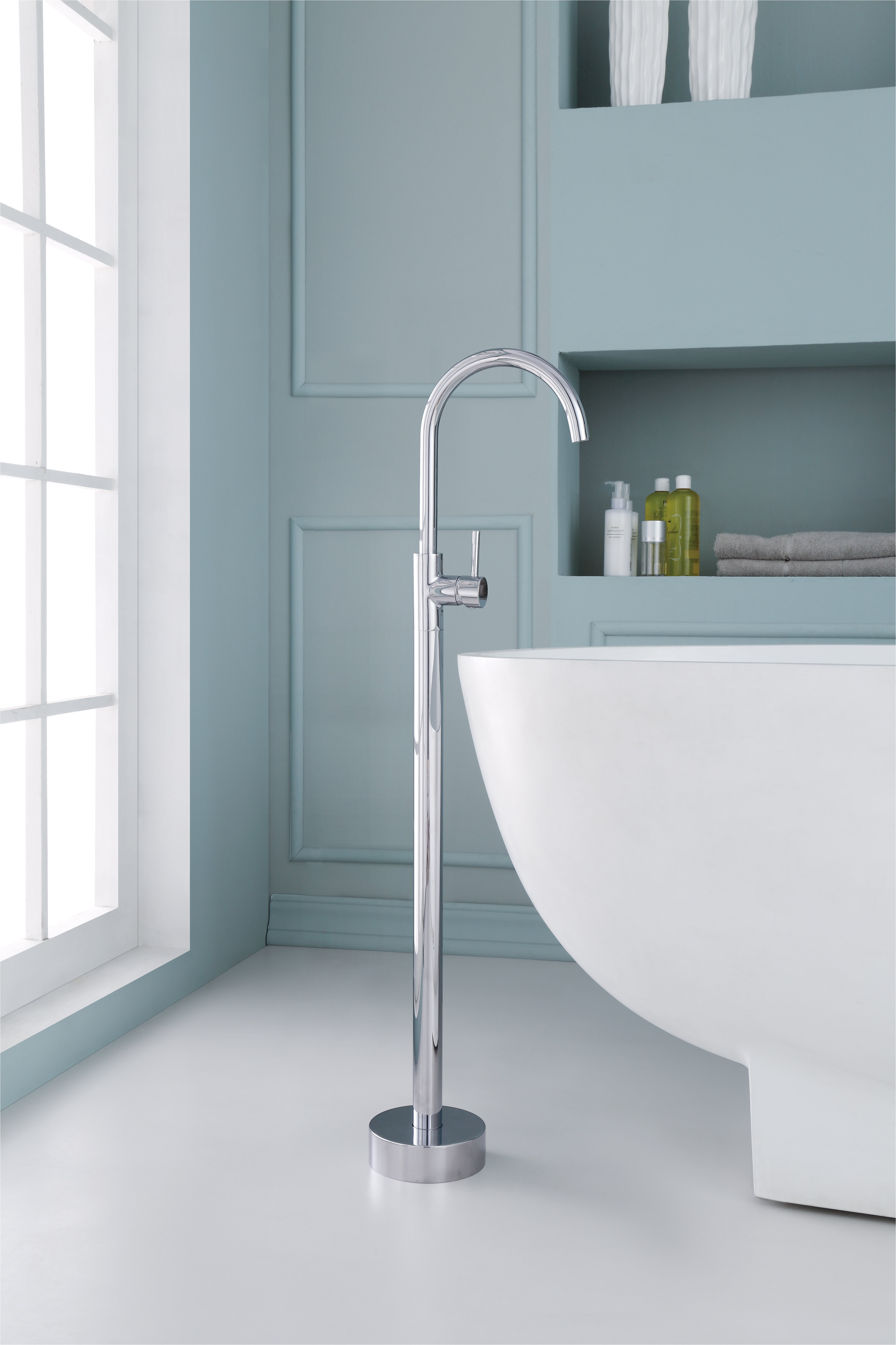 single handle floor mounted freestanding tub filler jpg