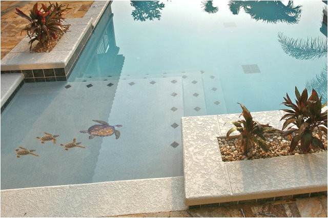 Pool Decals for Concrete Pools Pool Decal Brown Turtle Group Small for Concrete